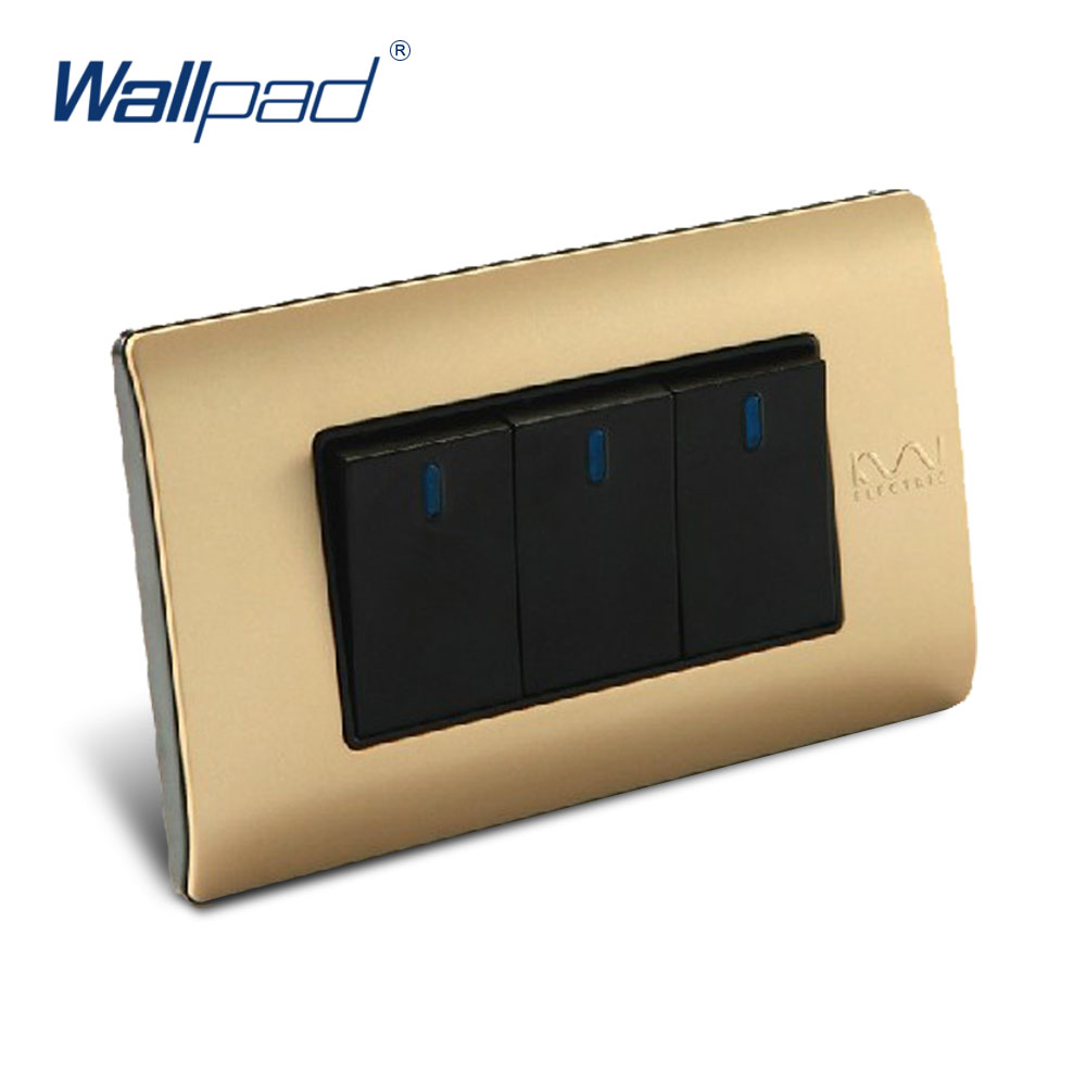 Free Shipping, Wallpad Luxury Wall Switch Panel, 3 Gang 2 Way Switch, Plug, Socket, 118*72mm, 10A, 110~250V 3 gang 1 way 118 72mm wallpad white glass touch wall switch panel led 110v 250v au us switching power supply free shipping
