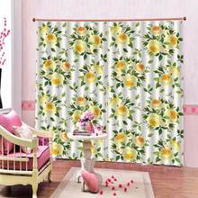 eautiful Photo Fashion Customized 3D Curtains yellow flowr curtains for girls room Blackout curtain(China)