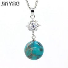 JINYAO Luxury Gold Color Chain Pendant Charm Ball Larimar AAA Zircon Necklace Pendant For Women Fashion Wedding Party Jewelry(China)