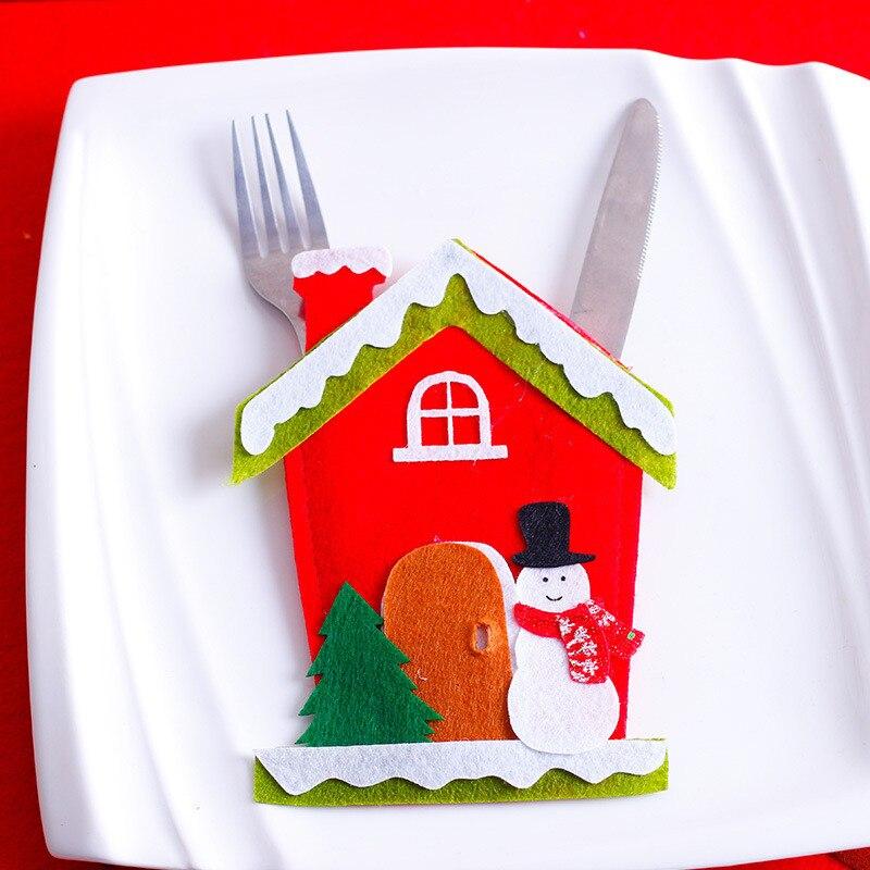 Шляпа Санты, олень, Рождество, Год, карманная вилка, нож, столовые приборы, держатель, сумка для дома, вечерние украшения стола, ужина, столовые приборы 62253 - Цвет: H3