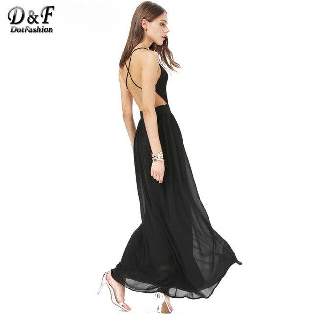 Dotfashion женщин новое поступление платья спагетти ремень спинки сексуальная элегантный новинка с v-образным вырезом крест-накрест шифоновое платье макси