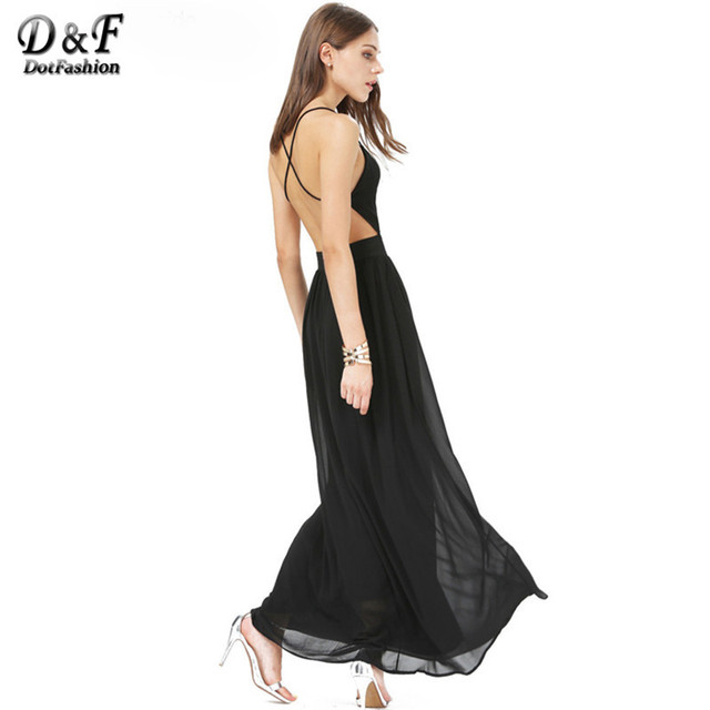 Dotfashion Women's New Arrival Dresses Spaghetti Strap Backless Sexy Elegant Novelty Long V-Neck Crisscross Chiffon Maxi Dress