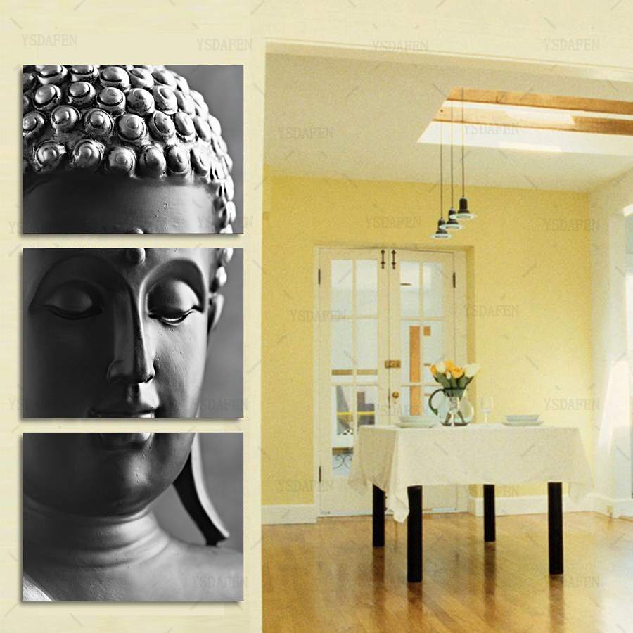 3 Piece Gray background buddha painting Modern Home Wall Decor ...