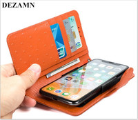 Topic Smart phone case flip for iphone 8 6 X orange leather material universal other models for 5.2 inch below for Huawei millet