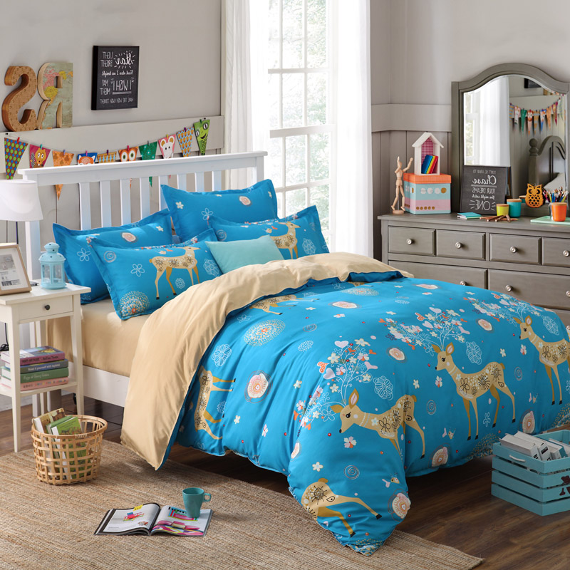 Deer Bedding Set Kawaii Giraffe Duvet Cover For Kids Bed Sheets Bedsheet  King Queen Twin Single Size 4 Pcs 1.5m 2.0m 1.8m  In Bedding Sets From Home  ...