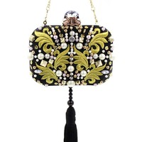 Famous Brand Beaded Rivets Embroidery Tassel Women Black Satin Evening Clutch Bags Ladies Wedding Metal Clutches