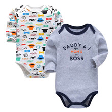 Newborn Bodysuit Baby Girl Boy Clothes 100%cotton Cartoon print Long sleeves Infant Clothing 2Pcs/lot 0-24 months цена