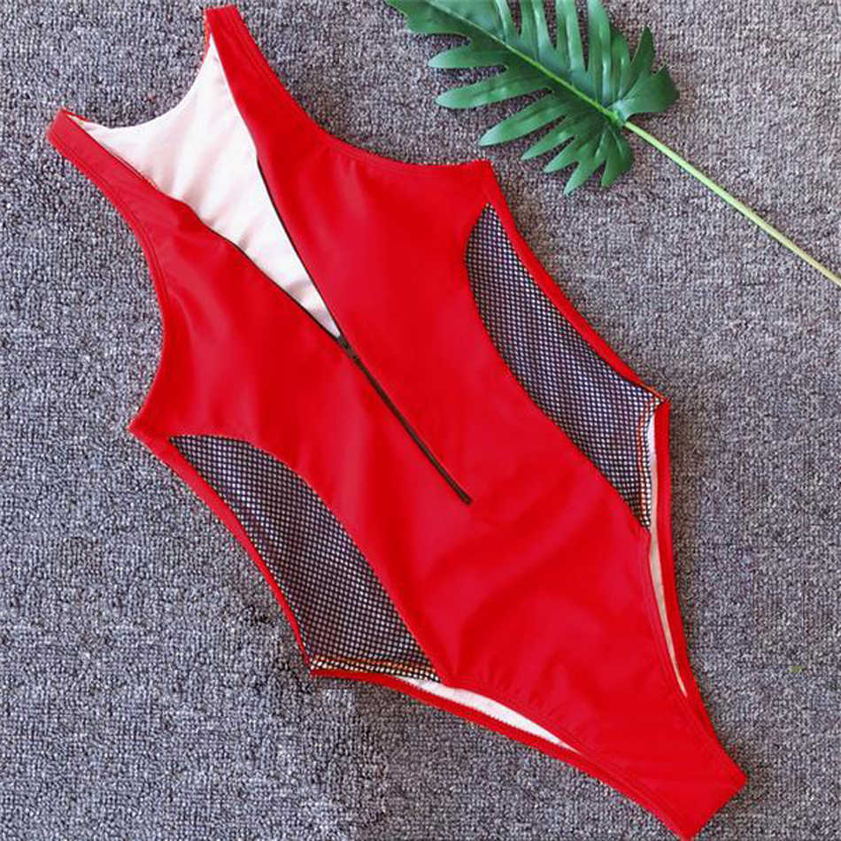Сетчатый Купальник Цельный купальник женский однотонный боди на молнии с завязкой спереди купальный костюм Мягкий купальный костюм женский черный пляжный костюм