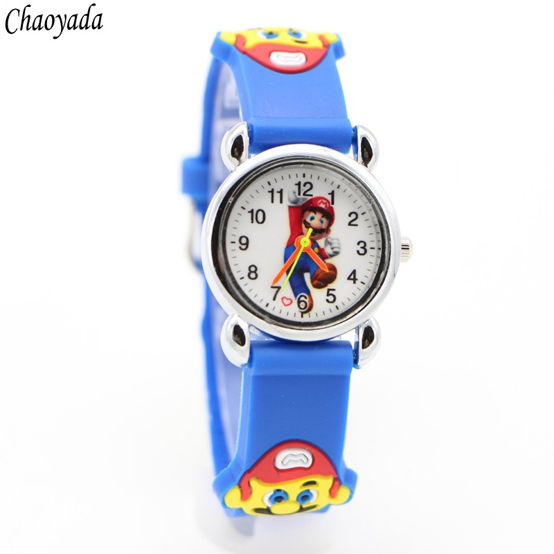 Cartoon 3D Lovely Super Mario Kids Girls Boys Children Students Quartz Wrist Watch Very Popular Watches