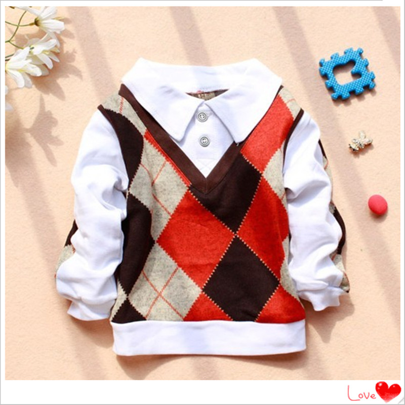Baby Boys T-Shirts Spring 2017 Autumn New Fashion Baby Clothes long-sleeved Turn-Down Cotton Boy Sweater Shirts A149