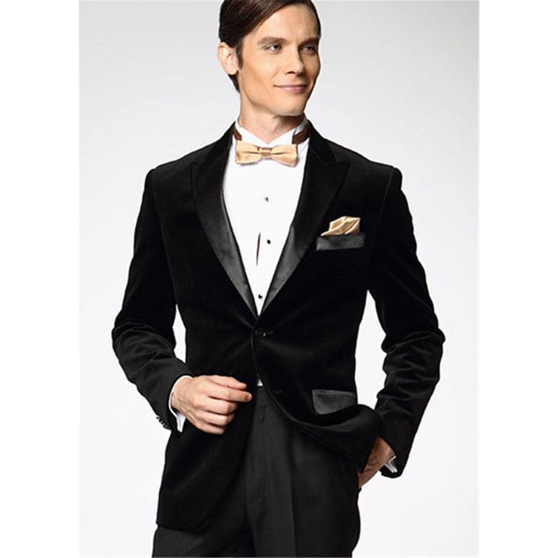 High Quality Black Velvet Mens Suits Groom Tuxedos Groomsmen Wedding Party Dinner Best Man Suits W:49 jacket+pants+bow Tie