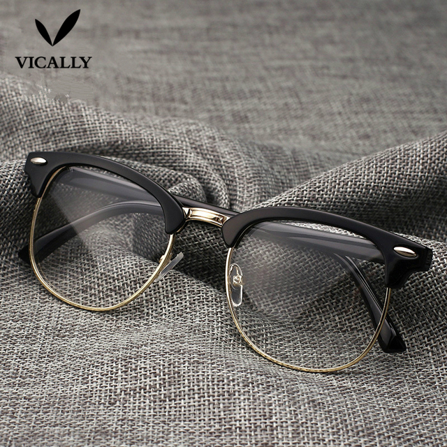 28e332abf3 Hot Fashion Retro Half-frame Glasses Frame Men Women Optical Glasses With  Clear Glass Transparent