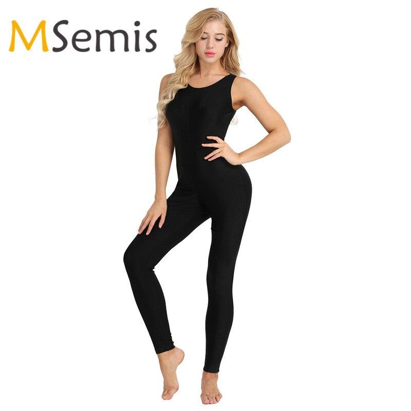Women Adult Sports Bodysuit One-piece Scoop Neck Footless Tank Unitard Yoga Dance Leotard Bodysuit Jumpsuit Ballet Gym Practice