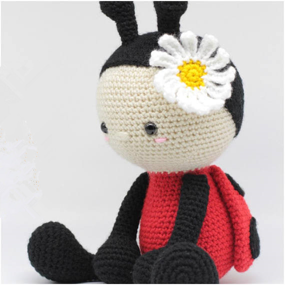 Crochet Baby Handmade Lovely  Ladybug Rattle Toy Doll Gifts