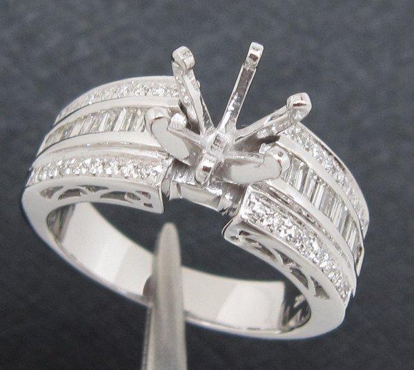 6.5mm Solid 14K White Gold Diamonfd Engagement Ring