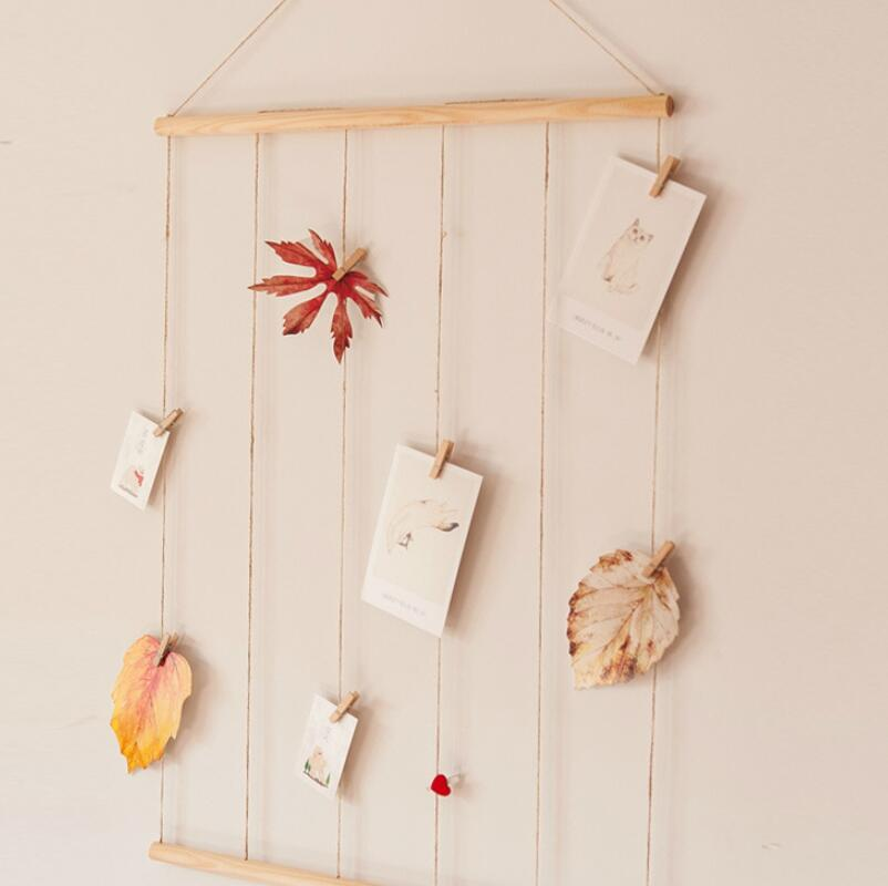 Image 3 - Nordic Style Simple Creative Linen Picture Wall With Clips Nails Postcards Pictured Hanging Room Decoration No String Lights DIY-in Wind Chimes & Hanging Decorations from Home & Garden