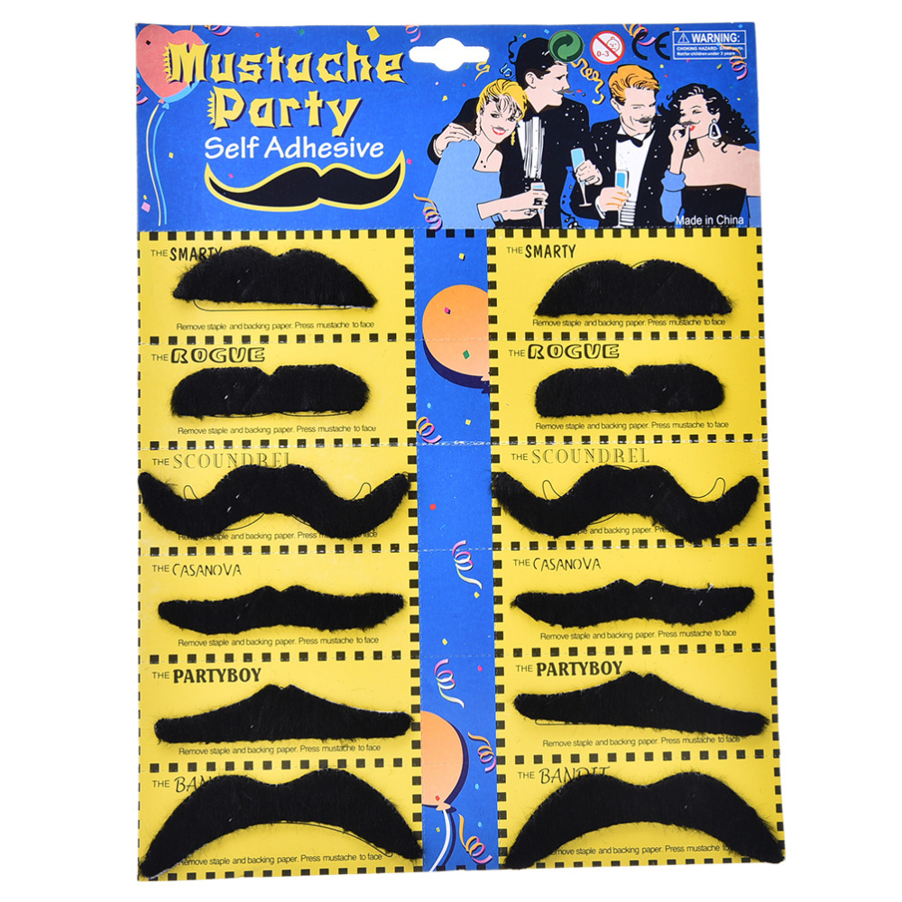 12pcs Costume Party Halloween Fake Mustache Moustache Funny Beard Whisker Hot Worldwide Kids Adult Gag Toys