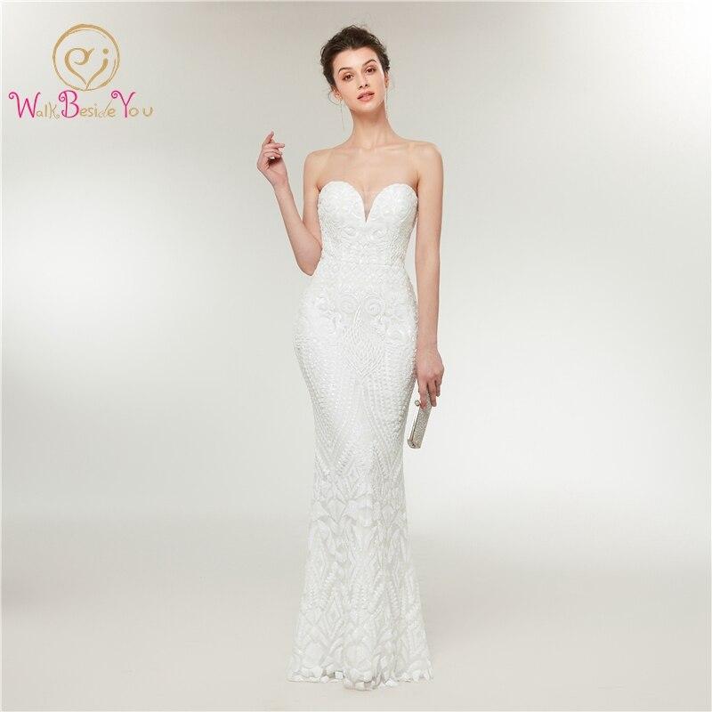 White Evening Dress  Lace 2019 New Style Sheer Neck Sleeveless Floor Length Sweep Train Mermaid Elegant Robe Femme Prom Dress