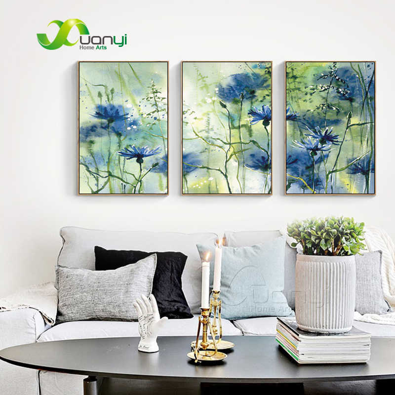 3 Panel Abstract Home Art Fower Watercolor Art Painting Prints On Canvas Modular Oil Painting Watercolor Flower Picture Unframed