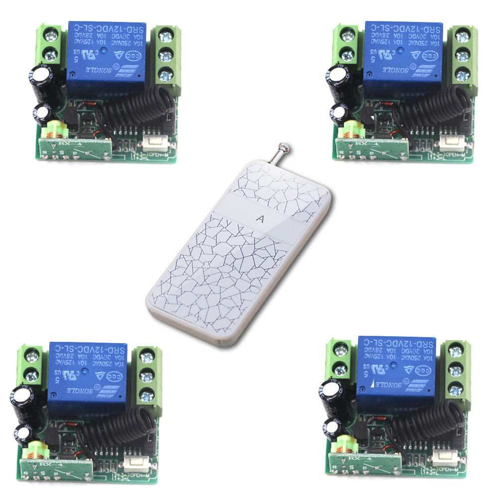 Door Access Control System 12V DC 1CH Wireless Remote Switch 315/433.92 RF Remote Control Light Switch 4 Receiver 1 Transmitter