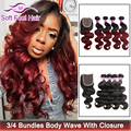 Ombre Brazilian Hair With Closure Brazilian Virgin Hair Body Wave 3/4 Bundles With Closure Ombre Human Hair Weave With Closure