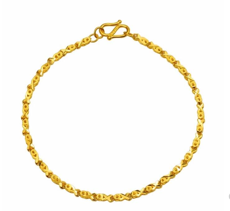 Fashion Fine Jewelry Real k Yellow Gold Bracelet Women Luck Fish Shape