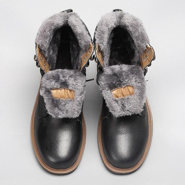 คุณภาพสูงผู้ชายรองเท้าบู๊ตหิมะฤดูหนาว 2018 ของแท้หนัง Handmade ยี่ห้อที่อบอุ่นผู้ชายฤดูหนาวรองเท้า # BG1568