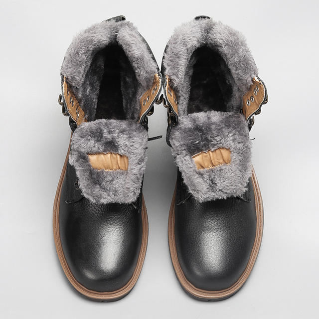 Degli Uomini di alta Qualità Stivali Da Neve 2018 Inverno Genuino Fatto A Mano In Pelle di Marca Più Caldo Degli Uomini di Inverno Scarpe # BG1568