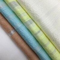 LEO LIN Stripes Stereo Embroidery Cut Flowers Raw Silk Fashion Fabric Jacquard Imitation Silk Organza Yarn