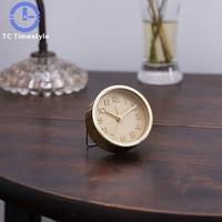 Retro Brass Mini Gold Alarm Clock Loud Voice Luminous Students Mute Creative Wake Up Bedroom Needle Desktop
