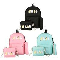 3 шт./компл. Composite Backpack комплект Для женщин милый кот холст рюкзак Повседневное Дорожная сумка моды школьный для подростков Обувь для девочек...