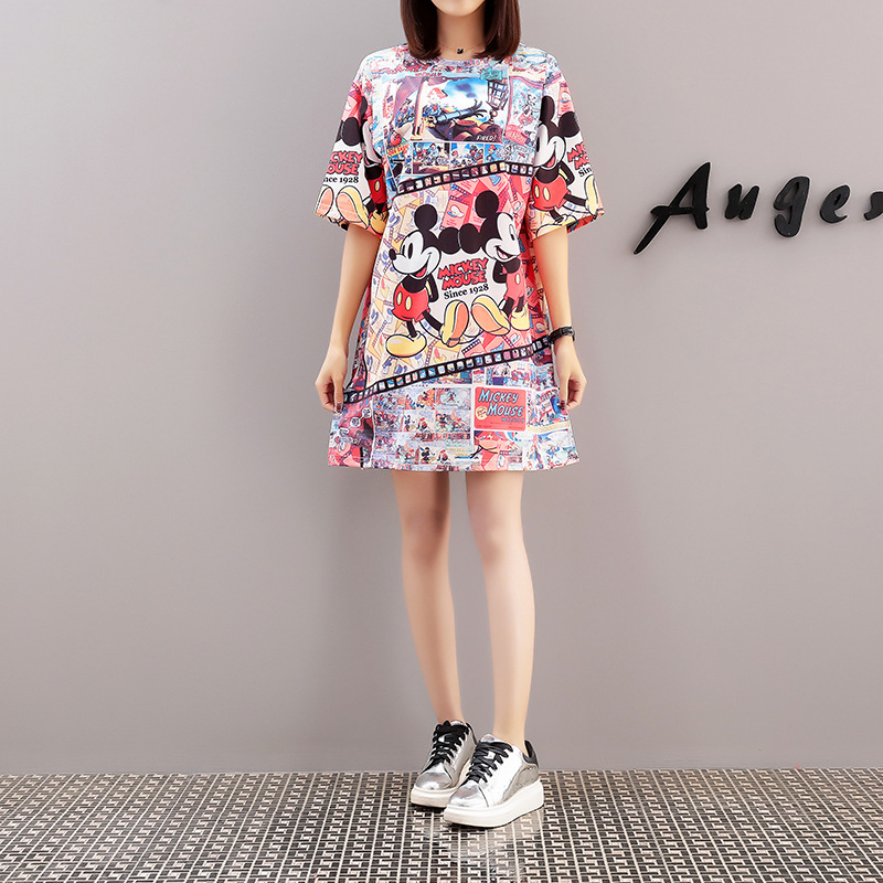 US $16.67 10% OFF|Mickey Mouse Dress Cartoon Short Plus Size Dress Mickey  Mouse Personality Sweater Dress Loose Dress Women 2019-in Dresses from ...