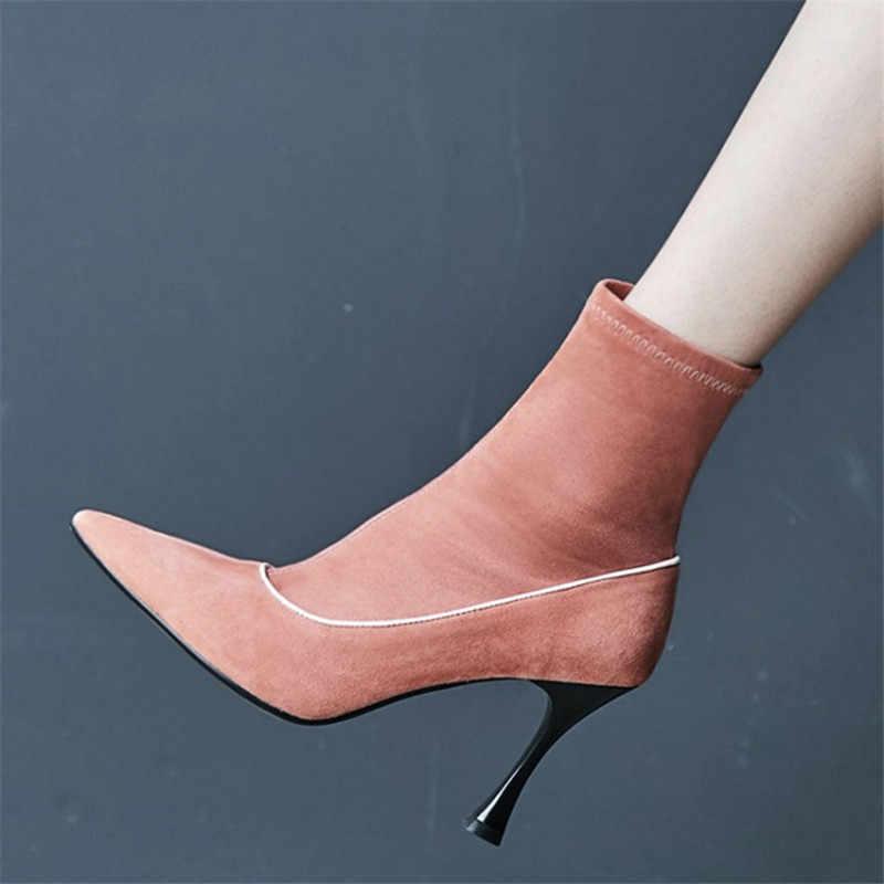 Yüksek topuklu süet yarım çizmeler kadınlar için sivri burun çorap Ayakkabı kızlar bahar Güz şeker renk Botines Mujer 2018 Kadın Pompaları