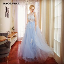 BAORUINA Party Evening Dress for Woman Scoop A-Line Decorated with Flower Tulle Blue Prom Dress for Graduation vestido de festa
