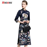 Black Red Ethnic Flower Embroidery Dress Autumn Women Chinese National Style Dress Cheongsam Floral Elegant Long
