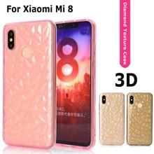 Phone Case for Xiaomi Mi 8 Diamond Grain Crystal texture Luxury Transparent Cover Shell Coque