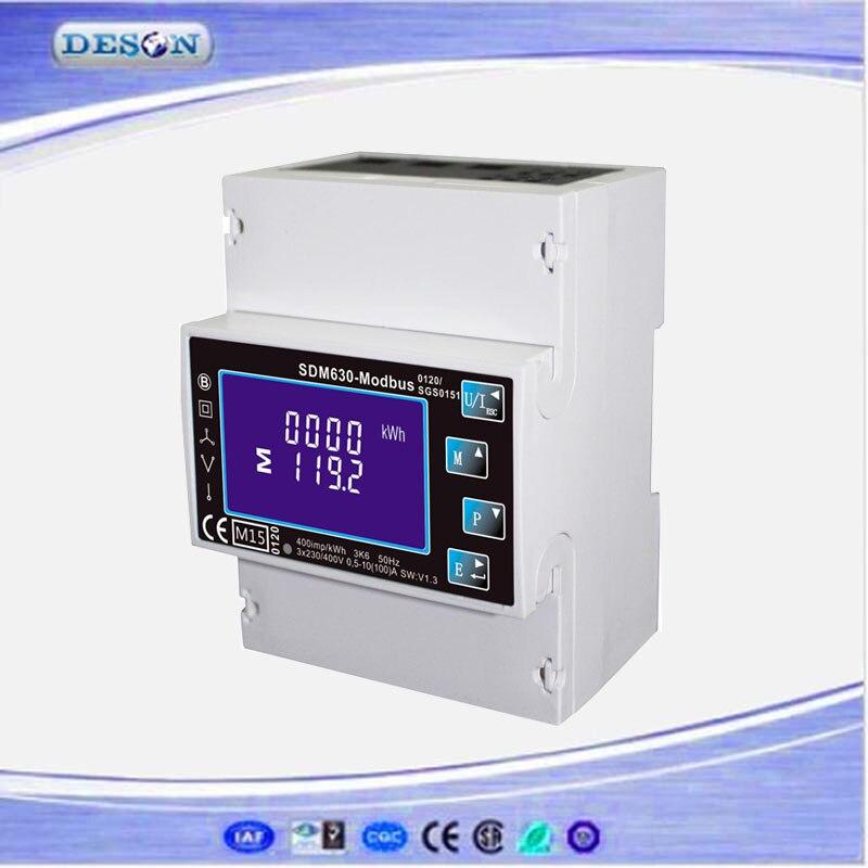 SDM630 Modbus RS485 Din Rail KWH compteur d'énergie triphasé 100A solaire PV compteur d'énergie RTU compteur numérique