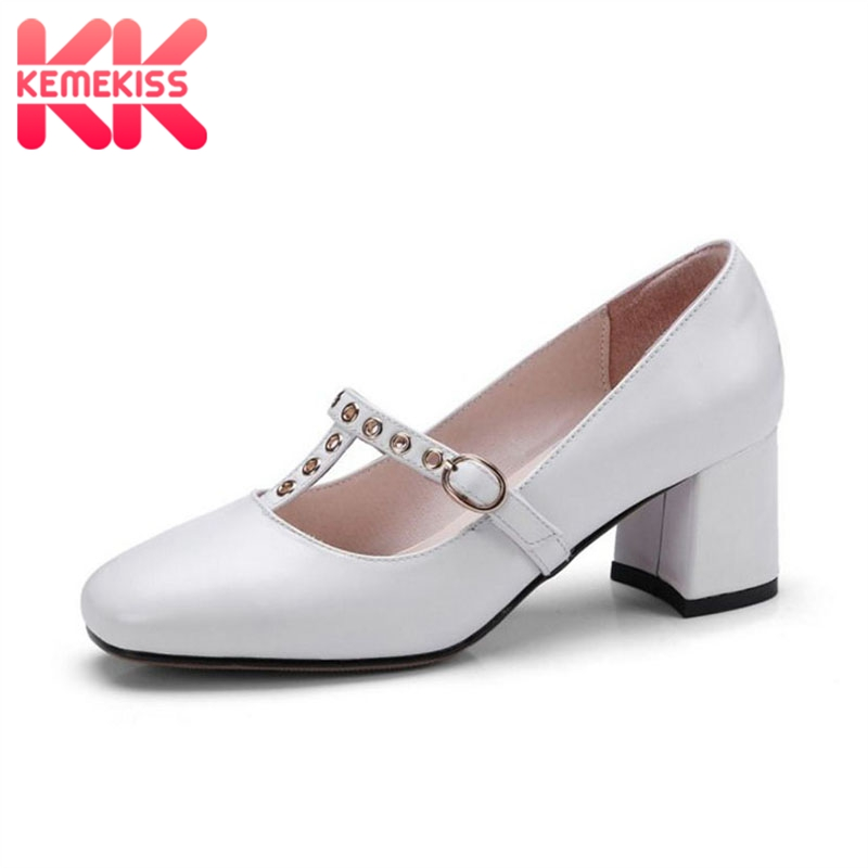 где купить KemeKiss Size 34-43 Simple Office Lady Real Genuine Leather High Heel Shoes Women Metal Buckle Thick Heel Pumps Women Footwear по лучшей цене