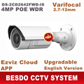 4MP câmera IP POE varifocal zoom ao ar livre DS-2CD2642FWD-IS substituir DS-2CD2632F-IS 2cd2632f 2cd2632f-is ds-2cd2632f ds-2cd2632f-i