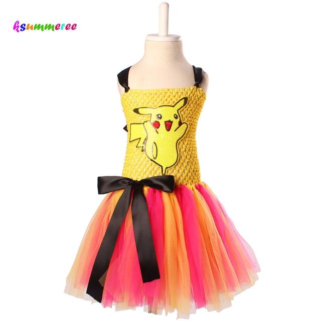 ea4bc028 Ksummeree Pikachu Inspired Tutu Dress Girls Baby Tulle Dress Halloween  Cosplay Costume Kids Photo Props TS118