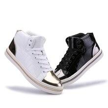 2016 New Autumn Winter Men Casual Shoes Black High-top Lace-up Canvas Shoes Espadrilles Fashion White Men's Flats