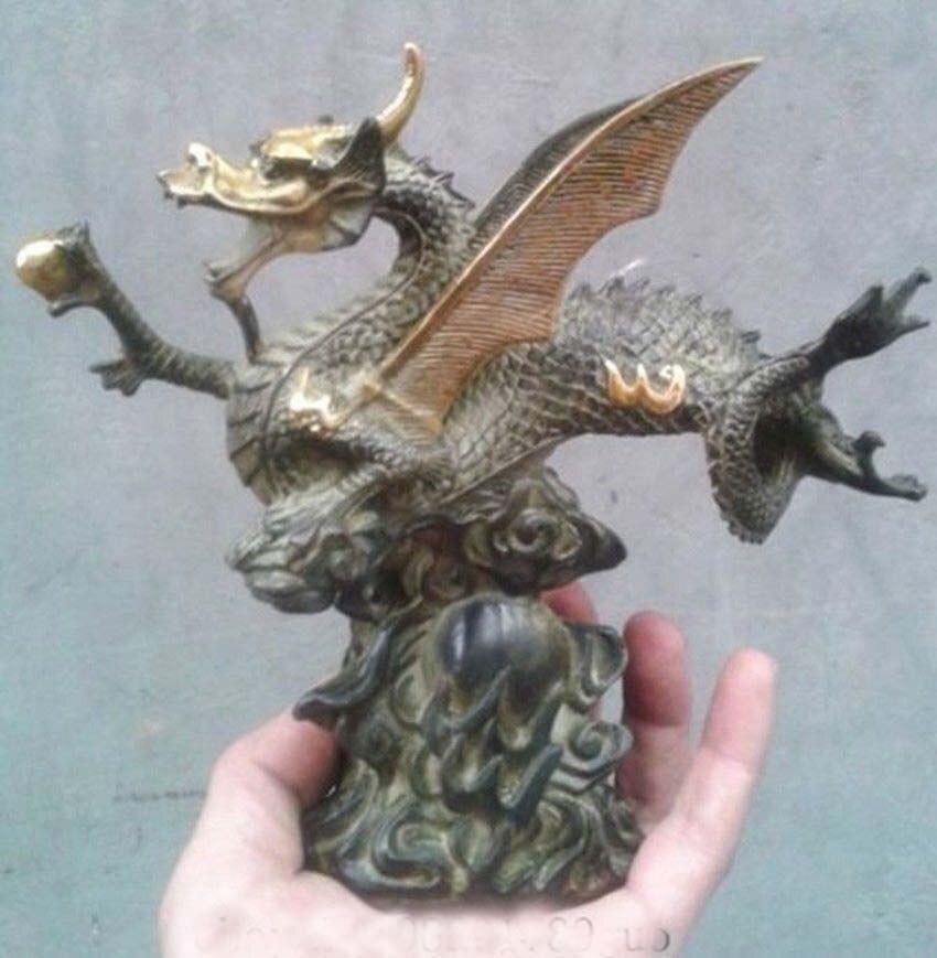 Лаки Китайский Фэншуй Бронзовый свинка Dragon Ball статуя