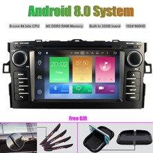 Восьмиядерный Android 8.0 Автомобильный мультимедийный DVD плеер для Toyota Auris