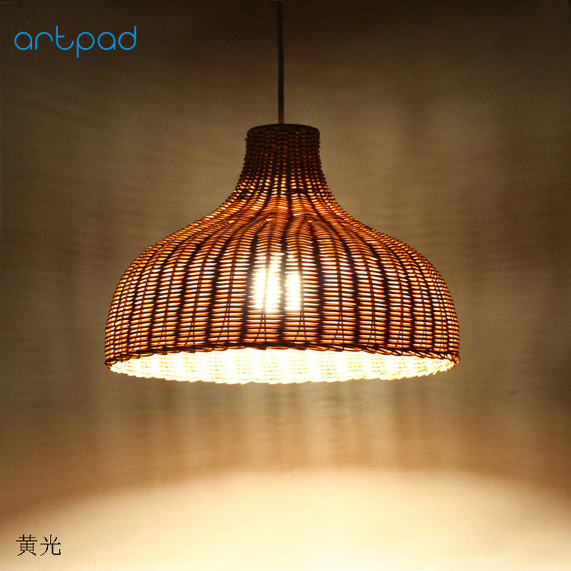 Artpad Chinese Style DIY Bamboo Wicker Rattan Pendant Light Lamps Bedroom Bamboo Pendant Lamp for Bar Restaurant Dining Room natural black bamboo wicker lampshade hat large pendant light antique chinese asian rattan hanging ceiling lamps foyer lighting