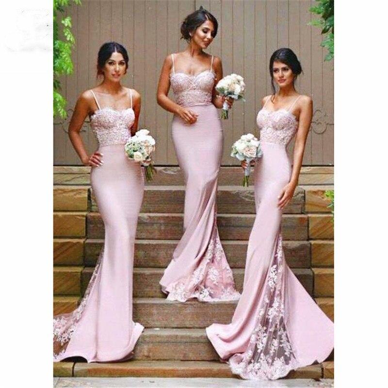 Robes de demoiselle d'honneur sirène rose 2019 avec Appliques de dentelle bouton bretelles Spaghetti robes de mariée robe de demoiselle d'honneur