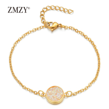 ZMZY Gold Color Circle Drusy Stone Charm Bracelets for Women Bracelet Jewelry Gift Stainless Steel Friendship