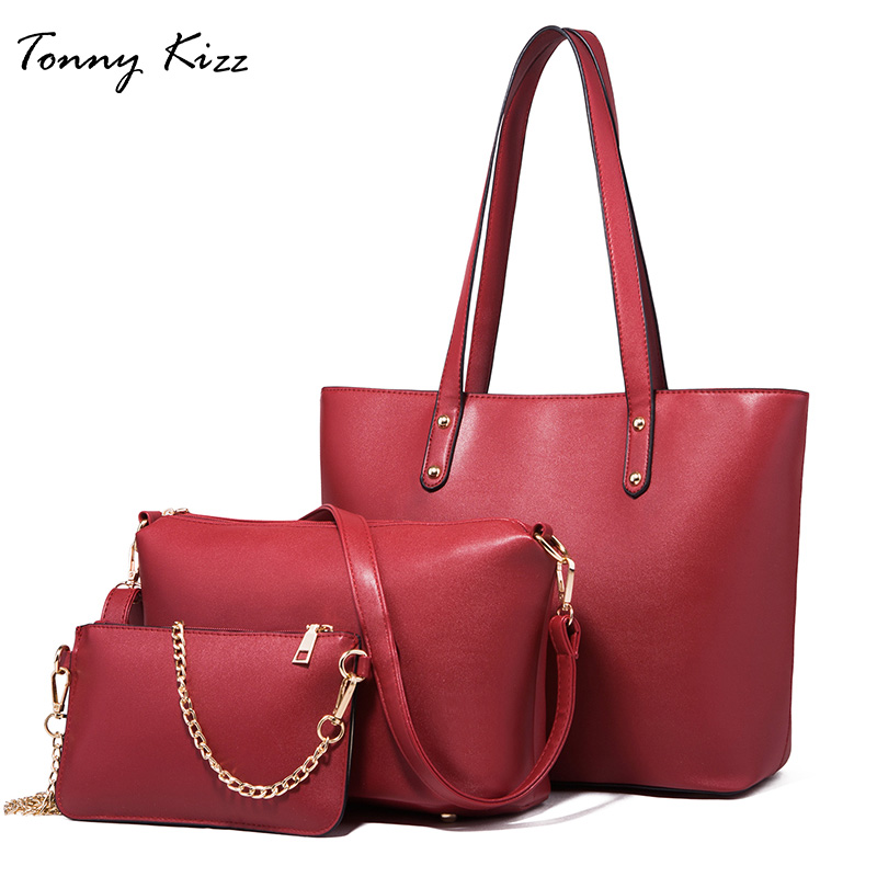 Tonny Kizz grande capacité 3 pièces composite sacs ensemble mode dame bandoulière messenger femmes épaule sacs pour femmes 2018 PU sac à main
