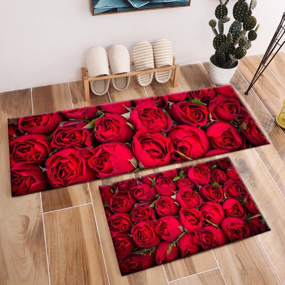 Red Rose Area Rugs And Flower Carpets For Kids Baby Home Living Room Crystal Velvet Bedroom Hallway Yoga Kitchen Door Floor Mats