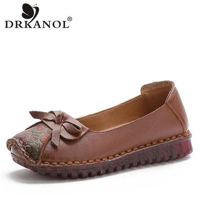 DRKANOL 2020 Spring Slip On Loafers For Women Flat Shoes Handmade Genuine Leather Flats Creepers Print Mocassins Femme H7809