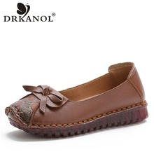 DRKANOL 2020 אביב להחליק על נעליים חצאיות נעליים שטוחות בעבודת יד עור אמיתי דירות מטפסי הדפסת מוקסין Femme H7809